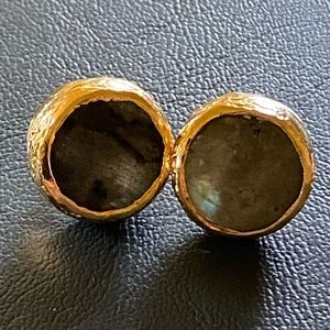 14K Gold Plated Labradorite Button Earrings